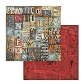 Papier scrapbooking réversible alphabet mécanique fantastique 30x30