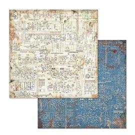 Papier scrapbooking réversible circuit d'imagination mécanique 30x30