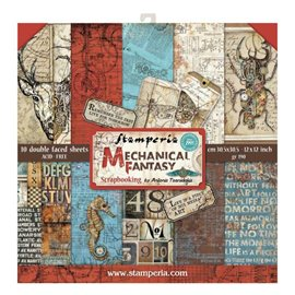 Papier scrapbooking assortiment mechanical fantasy 10f recto verso 30x30