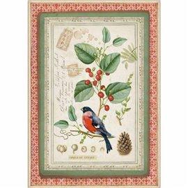 Papier de riz Stamperia 21x29,7cm oiseaux sur houx