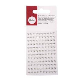 Stickers adhésifs demi perles argent 120p