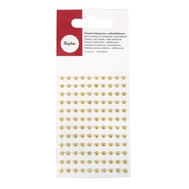 Stickers adhésifs demi perles doré 120p