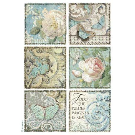 Papier de riz imprimé Stamperia A4 rose et papillon