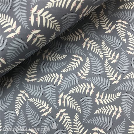 Papier italien motifs leaves fond bleu