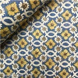 Papier tassotti à motifs fleurs bleu jaune