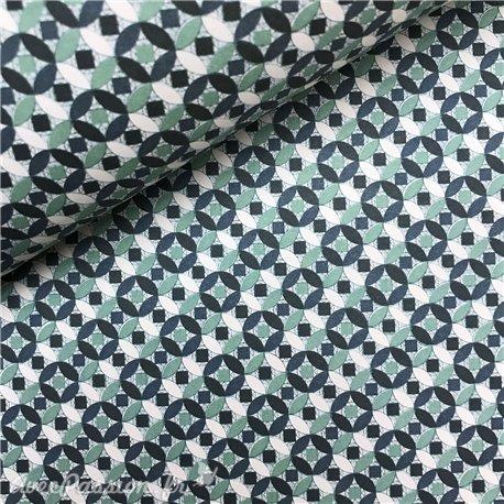 Papier tassotti à motifs mosaïque bleu vert