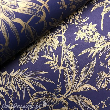 Papier tassotti à motifs damas bleu motifs dorés