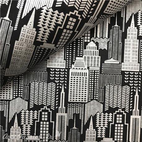 Papier à motifs skyline noir motifs argent
