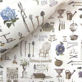 Papier italien motifs outils de jardinage