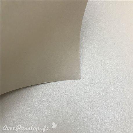 Papier cartonné couleur taupe épais type bristol métallique