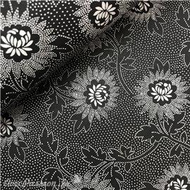 Papier fantaisie talila noir fleurs blanches
