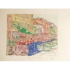Gravure originale Venise Italie marché