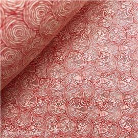 Papier népalais lokta lamaLi rond rouge fond naturel