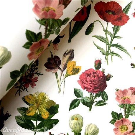 Papier tassotti à motifs fleurs fond blanc