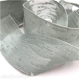 Ruban tissu boucle vert d'eau rouleau 6cm x 10m