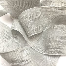 Ruban tissu boucle gris clair rouleau 6cm x 10m