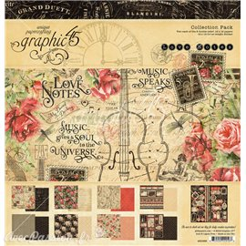 Papier scrapbooking assortiment 16fe recto verso 30x30 Love Notes
