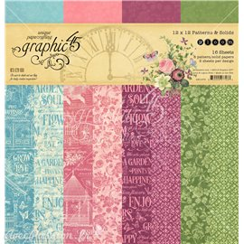 Papier scrapbooking assortiment 16fe recto verso 30x30 Patterns & Solid Pad