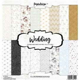 Papier scrapbooking assortiment 8fe recto verso 30x30 Wedding