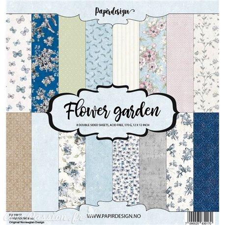 Papier scrapbooking assortiment 8fe recto verso 30x30 Flower Garden