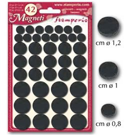 Aimants adhésifs ronds 3 tailles 42p