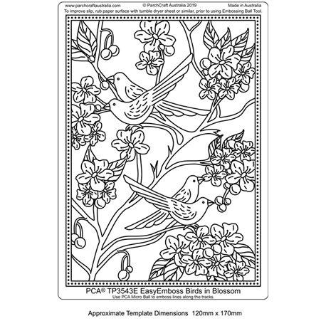 Template PCA gabarit traçage motifs birds in blossom