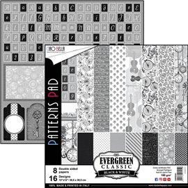 Papier scrapbooking assortiment Ciao Bella evergreen classic noir et blanc 8fe 30x30