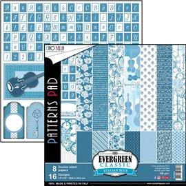 Papier scrapbooking assortiment Ciao Bella evergreen classic bleu italien 8fe 30x30