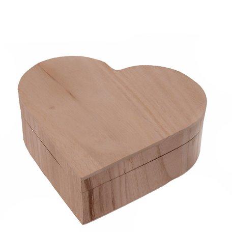 Objet en bois brut boite coeur avec abattant