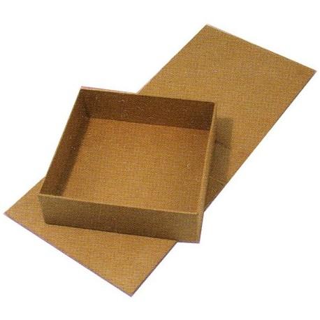 Objet brut boite carrée avec abattant carton marron