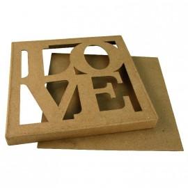 Objet brut boite carrée love carton marron