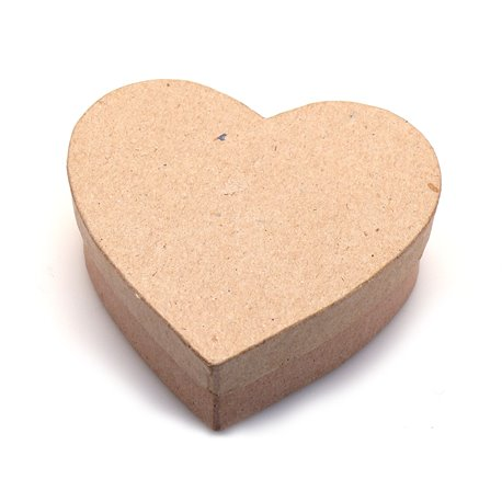Objet brut boite coeur 9x9 carton marron