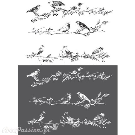 Transfert pelliculable Redesign Prima marketing décor Birds & Berries