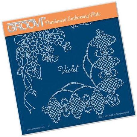 Groovi gabarit traçage parchemin violet and lace fleurs de Linda Williams
