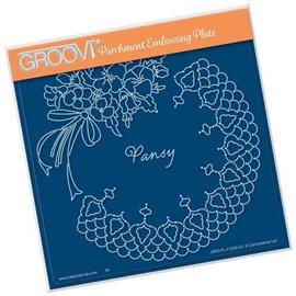 Groovi gabarit traçage parchemin pansy and lace fleurs de Linda Williams