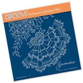 Groovi gabarit traçage parchemin jasmine and lace fleurs de Linda Williams