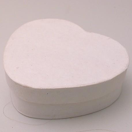 Objet brut boite coeur 11x10 carton peint blanc