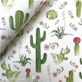 Papier italien motifs cactus fond blanc