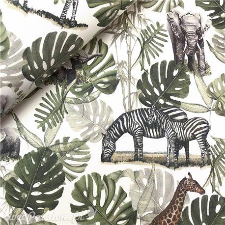 Papier italien motifs jungle fond blanc