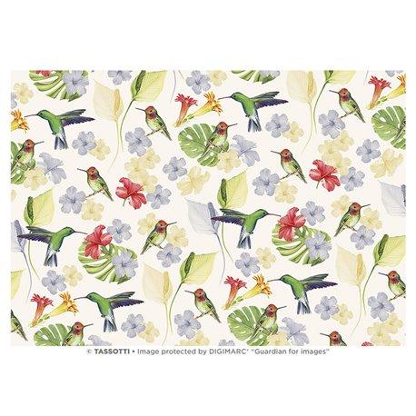 Papier italien motifs colibri fond blanc