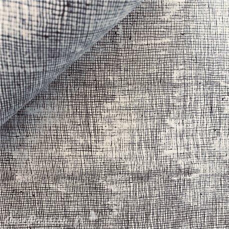 Papier à motifs toile gris strié noir
