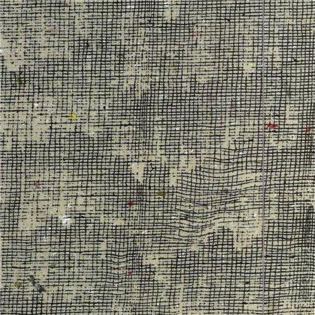 Papier à effet strié imitation toile taupe trait marron