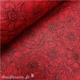 Papier fantaisie anémones rouge fleurs noir