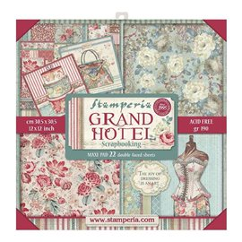 Papier scrapbooking assortiment Stamperia grand hotel 22f recto verso 30x30