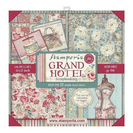 Papier scrapbooking assortiment Stamperia grand hotel 22f recto verso 30x30