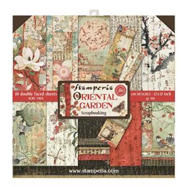 Papier scrapbooking assortiment Stamperia oriental garden 10f recto verso 30x30