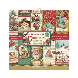 Papier scrapbooking assortiment Stamperia christmas vintage 20f 20x20 recto verso