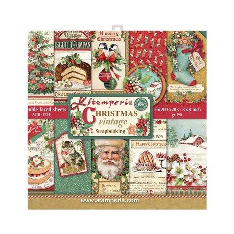 Papier scrapbooking assortiment Stamperia christmas vintage 20f 20x20 recto verso