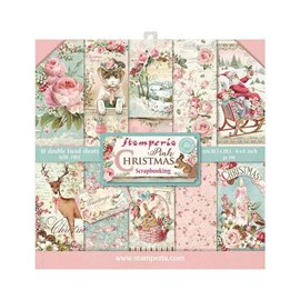 Papier scrapbooking assortiment Stamperia pink christmas 10f 20x20 recto verso
