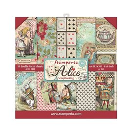 Papier scrapbooking assortiment Stamperia alice 10f 20x20 recto verso